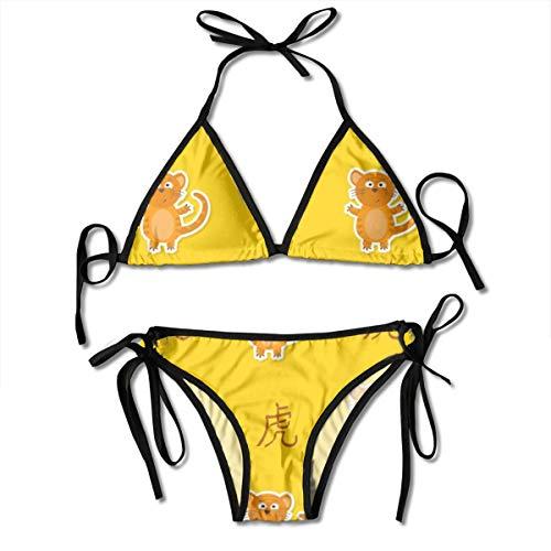 Chinese dierenriem tijger teken vrouwen V-draad gewatteerde geribde gesneden cami bikini set twee stuk badpak gepersonaliseerd