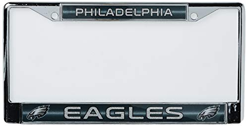 NFL Rico Industries Bling Chrome License Plate Frame with Glitter Accent, Philadelphia Eagles
