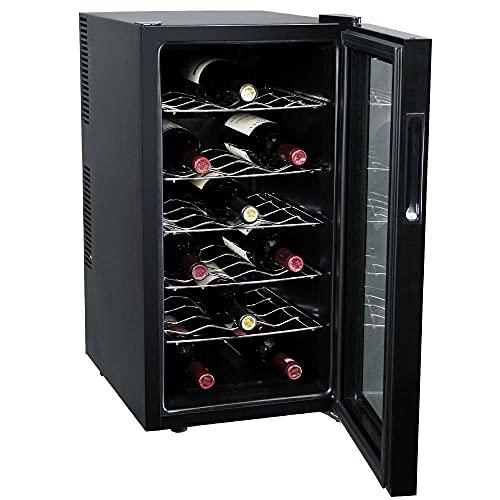 BAKAJI Cantina Refrigerante Bottiglie di Vino Cantinetta Frigo Elettrica con 18 Porta Bottiglie 52 Lt Potenza...