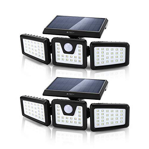 Ai Tech Luce Solare LED Esterno, Lampada Solare da Parete con Pannello 140 LED con PIR Sensore di Movimento 3 Modalità da Cortile Faretto Led da Esterno Solare Orientabile 360° Impermeabile IP65