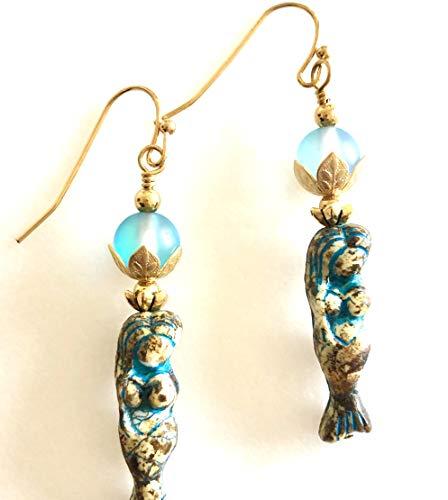 Czech glass and quartz earrings