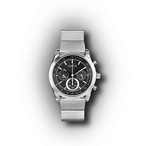 Wena Pro van Sony Solar Chronograph Edition - Slimme riem voor horloges met contactloze betaling, meldingen en activiteitentracking - Zilver roestvrij staal