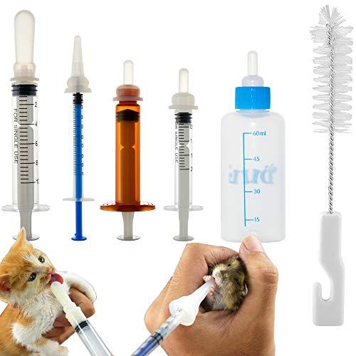 MYSY Aufzuchtflasche 60 ml, Original Nippel mit Spritzen, Futterflasche für Neugeborene Welpen Katze Eichhörnchen Kleine Säugetiere