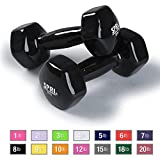 SPRI Dumbbells Deluxe Vinyl Coated Hand Weights All-Purpose Color Coded Dumbbell for Strength Training (Set of 2) (Black, 8-Pound)