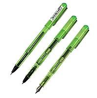 Ranvi 991 コンビネーションペン 3本 (0.7mm 中字 万年筆 1本 0.5mm 細字 万年筆 1本 ローラーボールペン 1本) 緑色