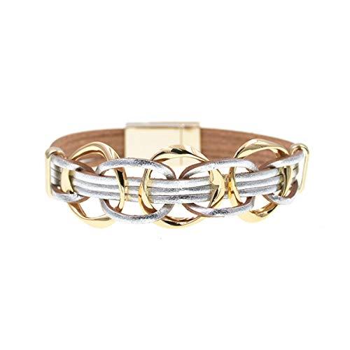 Armreif mit Kette, Metal Charm Leather Bracelets For Women Men's Multiple Layers Wrap Bracelets Couple Gifts Fashion Jewelry silver 20cm