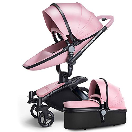 SpringBuds Baby Stroller Bassinet Carriage Combo 360 Rotation 2-in-1 Shock-Resistant High Landscape Luxury Pram Infant Stroller for Newborn and Toddler -Pink