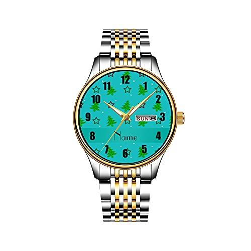 Reloj de hombre de cuarzo japonés con fecha, pulsera de acero inoxidable dorado, reloj Patriótico, madera bálsa, réplica de avión