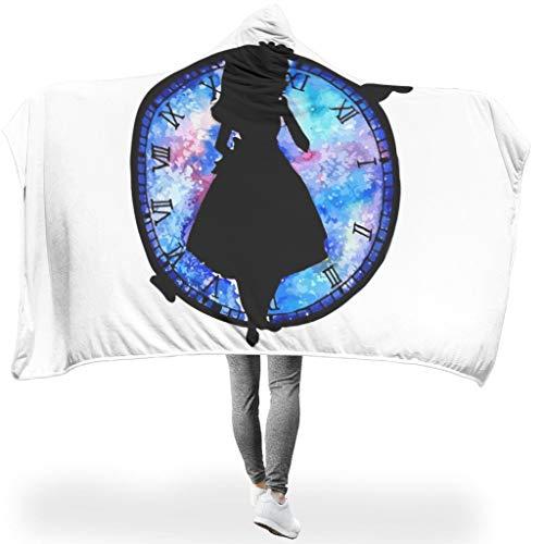 CATNEZA Uhr Mädchen ThemeHome Hooded Throw Wrap Hypoallergen Microfaser Wohndecke Kuscheldecke Schlafdecke TV Computer Fleecedecke Für Erwachsene Oder Kinder White 130x150cm