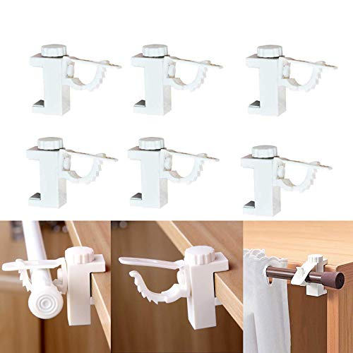 Curtain Rod Holder, 6 Pack Adhesive Rods Bracket for Hanging Net Curtains Clothes No Drill Hanger Hook for Small Gadgets, 1KG Home Bedroom Hotel Cabinet Wardrobe