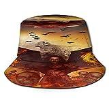 fudin Sombrero de Pescador Unisex Fondo del Concepto 3D del Demonio Plegable De Sol/UV Gorra Protección para Playa Viaje Senderismo Camping