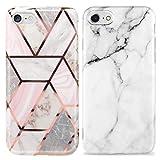 KARELIFE 2 unidades de funda de mármol para iPhone SE 2020 / iPhone 8 / iPhone 7 funda de silicona gris blanco mate y purpurina Bling oro rosado brillante, suave y resistente a los arañazos