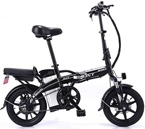 Fangfang Bicicletas Eléctricas, Bicicleta eléctrica Plegable de Acero al Carbono de Litio de la batería del Coche Doble Adulto Bicicleta eléctrica Auto-conducción for Llevar, Negro, 10A,Bicicleta