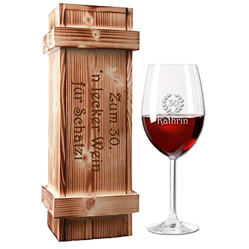 Rotweinglas (Leonardo) mit Holzkiste im Geschenk-Set - mit kostenloser Gravur - EIN besonderes Geburtstagsgeschenk | Weingeschenk Weinglas graviert | Muttertagsgeschenk (Jubiläum)