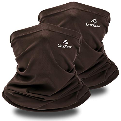 Neck Gaiter Summer Sun UV Protection Face Cover Women Men Cooling Neck Scarf Anti Dust Windproof Bandana for Hiking Cycling Fishing (Dark Brown, 2)