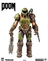 """Incredibly detailed 7"""" scale figure based on the legendary DOOM Franchise Features DOOM Slayer in his most recent iteration of his Space Marine Armor Figure comes with the Supershotgun, Extended Arm Blade, Sheathed Arm Blade and base Designed with Ul..."""