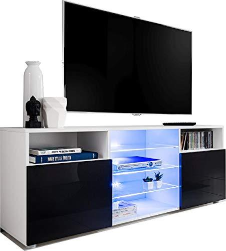 ExtremeFurniture T38 Meuble TV, Carcasse en Blanc Mat/Façade en Noir Brillant + LED Bleues