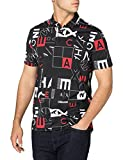 Armani Exchange All Over Logo Print Short Sleeve Polo Shirt, Black Red Crop Square, XS para Hombre