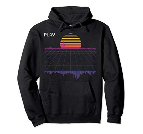 Adults 80s Grid and Sunset Outrun  Hoodie, 4 Colors, S to 2XL