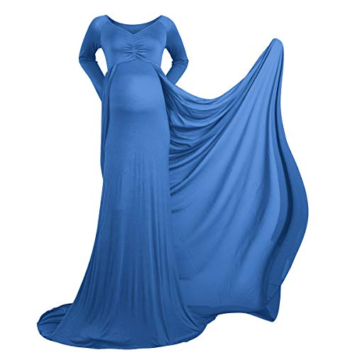 IBTOM CASTLE Schwangerschaftskleid Umstandskleid Schwanger Fotografie Requisiten Frauen Lange Chiffon Mutterschaft Fotoshooting Maxi Kleidung für Damen Himmelblau M