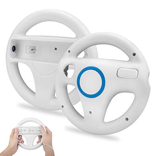 TechKen 2 STK Racing Lenkrad Wheel für Wii Fernbedienung Kompatibel mit Wii Kart,Racing Wheel für Wii Controller Kunststoff Game Lenkrad für Wii Racing Spiele
