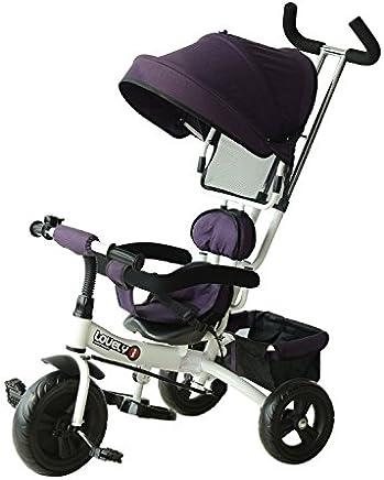 Tricilo para Niños con Capota extraíble y Plegable Incluye Barra telescópica para los Padres Certificado EN71-1-2-3 Color Morado y Blanco 92x51x110cm