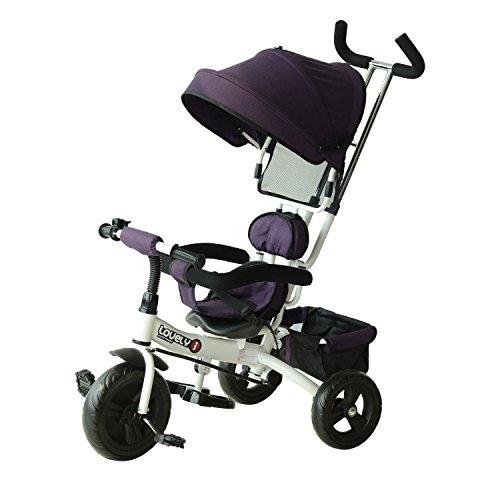 HOMCOM Triciclo para Bebé 4 en 1 Bicicleta para +18 Meses con Capota Manija de Empuje Ajustable Barra Extraíble Reposapiés Plegable Canasta de Almacenaje 92x51x110 cm Morado