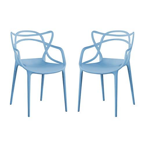 Milani Home s.r.l.s. Set di 2 Sedia in Polipropilene Plastica Azzurra di Alta qualità di Design per Interno E Giardino Stile Moderno per Sala da Pranzo, Cucina