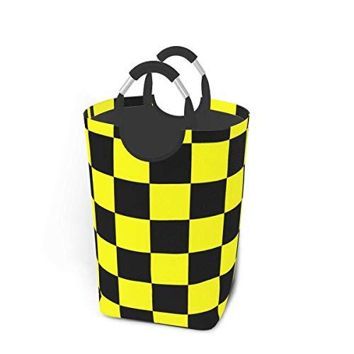 Cesto de almacenamiento para ropa sucia, color amarillo fluorescente, negro neón, grande, plegable, cesta de almacenamiento para ropa sucia, juguetes, libros