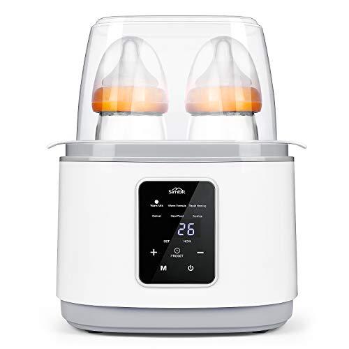 Scaldabiberon,SIMBR Scaldabiberon Portatile| Sterilizzatore | Riscaldatore di Cibo,Doppie Bottiglie Funzione 6 in 1 con Display LCD,270w,Senza BPA