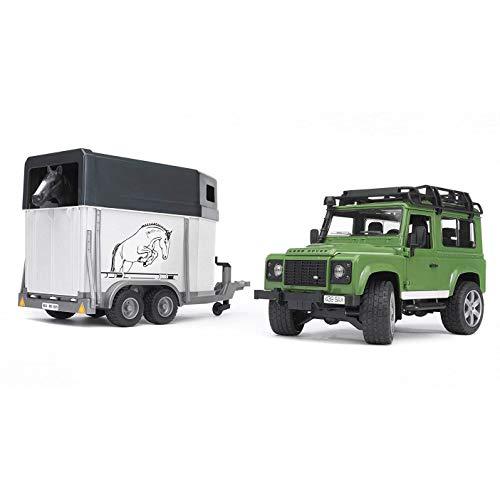Bruder 02592 - Land Rover Defender mit Pferdeanhänger inklusive 1 Pferd