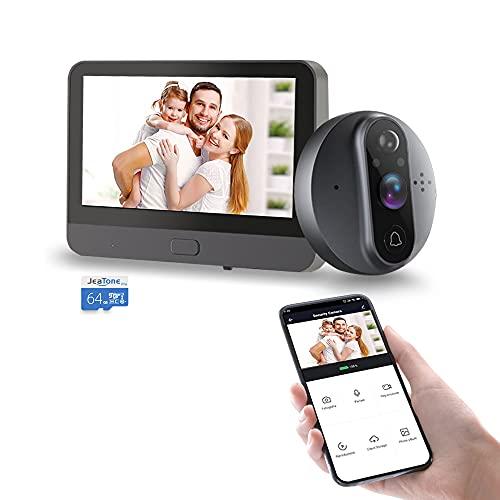 Mirilla digital/Para un grosor de puerta de 35 a 130 mm/Vigilancia con cámara gran angular AHD 720P de 100°+ Pantalla de 4,3 pulgadas/Visión nocturna por infrarrojos/Instantánea de movimiento o video