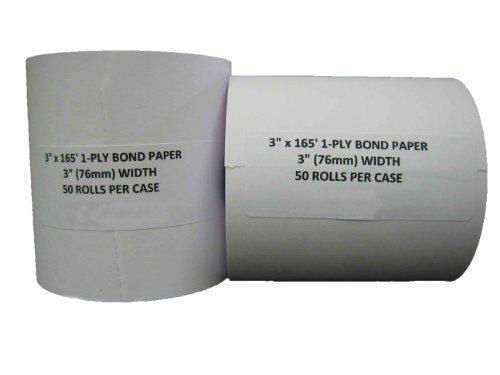 "3"" x 165' CASH REGISTER ROLLS,1 PLY BOND PRINTER POS PAPER ROLL 50 ROLLS/CASE"