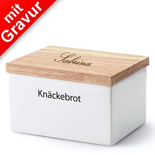 Continenta Knäckebrotdose, Knäckebrotbox, Vorratsdose für Knäckebrot mit Holzdeckel, mit Schrift: Knäckebrot, Größe: 17,5 x 13,5 x 11 cm MIT Gravur (z.B. Namen)