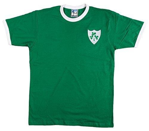 Retro Republik Irland Fußball Kurzarmhemd. Neue Größen von klein bis Übergröße. Aufgesticktes Logo. 100% Baumwolle