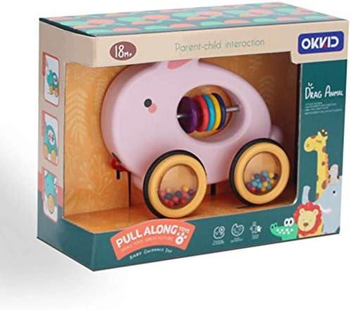 Auto mit Rad Push und Pull Spielzeug Nachziehspielzeug Ziehtiere ab 1 Jahr f/ür Babys Kleinkinder FakeFace Baby Trommel Kaninchen Spielzeug Nachziehtier aus Holz