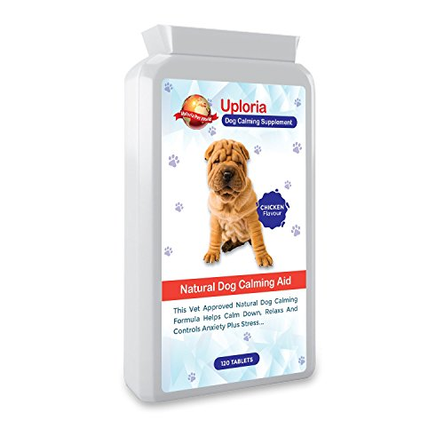 Uploria Pet World Calming Tablets For Dogs | 120 Chicken Flavoured Tablets | The Fast Acting Anxiety Tablets For Dogs Are A Natural De-Stress And Calming Sedatives For Dogs | UK Manufactured.
