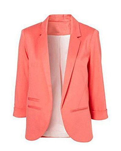 Minetom Donna Manica a 3/4 Aperto Davanti Colletto Cappotto Elegante Ufficio Business Blazer Top Gilet Corto OL Giacca da Abito Cardigan Peachblow IT 42