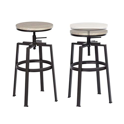 2 tabourets industriel assise ronde