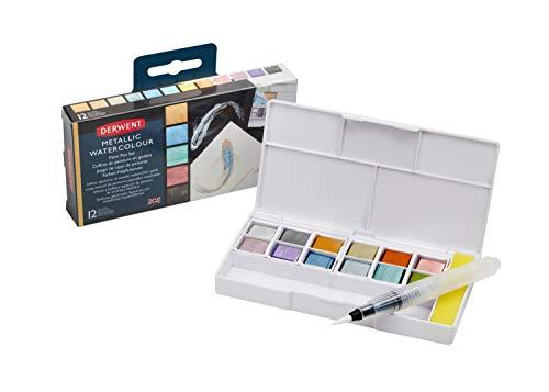 Derwent - Paleta de 12 sartenes de pintura metálica