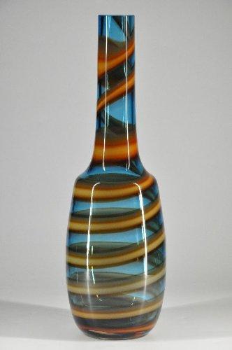Große,Glas,Vase,Kobaltblau,Spiral,Design,Kunst,Murano,Handarbeit,Wohnen,Deko