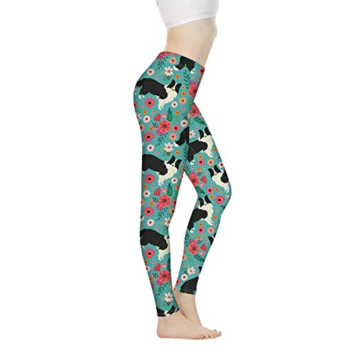 FKELYI Womens Workout Leggings High Waist Yoga Capris Plus Size Seamless Yoga Pants Cute Cartoon Border Collie DesignXL