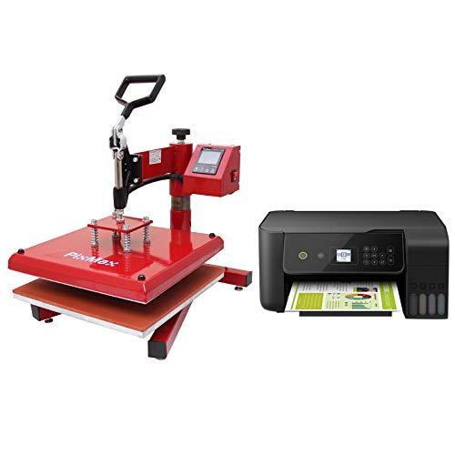 PixMax Swing Prensa de Calor Maquina de Prensa de Calor Máquina de la sublimación de la Transferencia de la Prensa del Calor de la Camiseta, Profesional y casero e Impresora | 38cm x 38cm