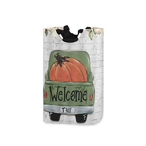 COFEIYISI Wäschesammler Wäschekorb Faltbarer Aufbewahrungskorb,Farm Pumpkin Patch Festival Backstein Halloween Blumen Herbst Blume Willkommen Herbst Green Truck,Wäschesack - Wäschekörbe