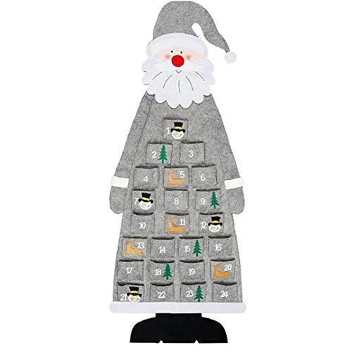 Odoukey Felt Advent Calendar Christmas Diy Wall Hanging Santa Felt Advent Calendar with Pockets for New Year Home Office Door Wall Grey