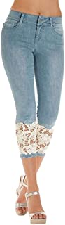 Women Casual Cropped Pants Lace Stitching Skinny Bodycon Leggings Pant White Large
