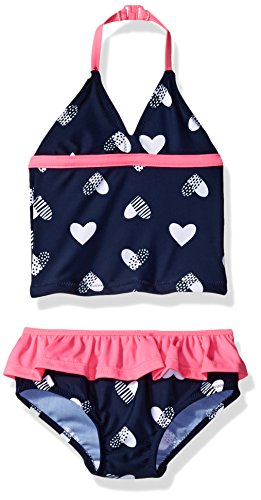 Osh Kosh Baby Girls' Infant Heart Tankini Set, Navy, 12M