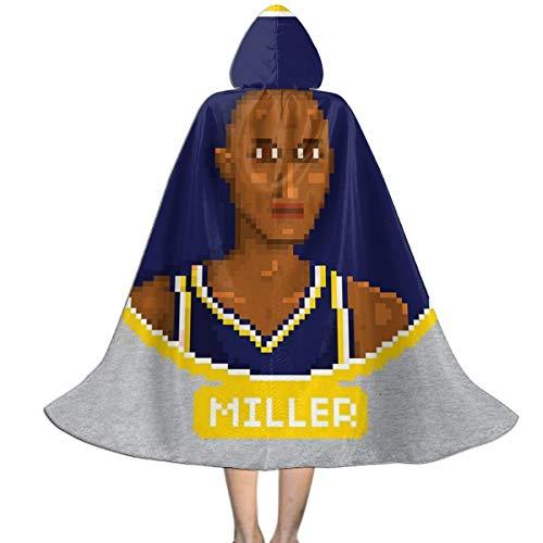 Nujshf Cape à Capuche Unisexe Reggie Miller Portrait Pixel Halloween Noël Party Décoration Rôle Cosplay Costumes