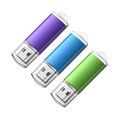 Cle USB 32 Go Lot 3 Clé USB Grande Capacité Cle USB 2.0 Pas Cher Flash Drive Porte Clé Stockage Disque Mémoire Stick pour Windows, PC, Ipad, Enregistreur, Linux