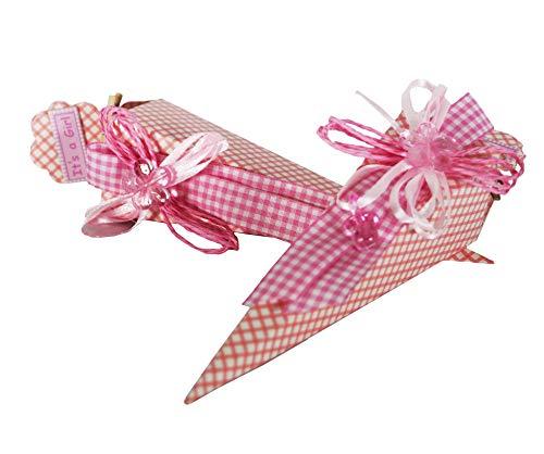 takestop® Set van 12 snoepjes in roze pois 4 x 4 x 19 cm snoepjes voor confect geboorte doop